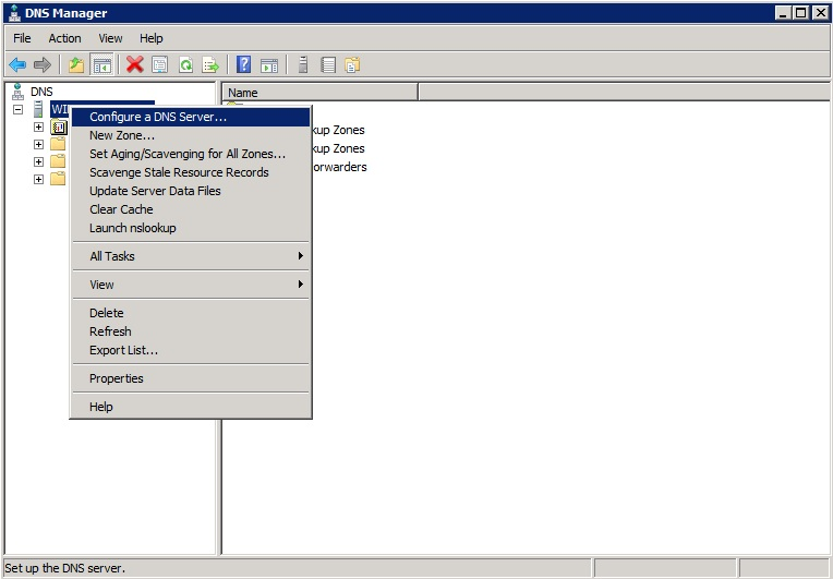Installing and configuring a DNS server in Windows Server