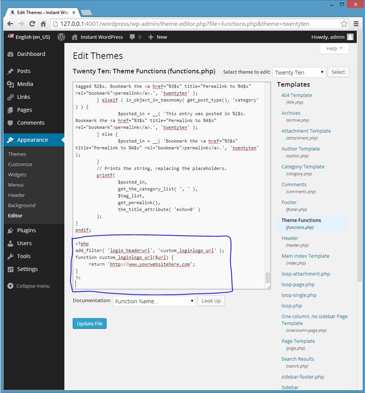 login page code