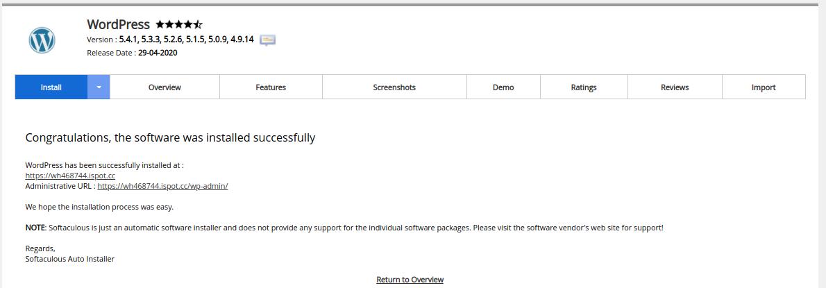 Install WordPress on cPanel using Softaculous
