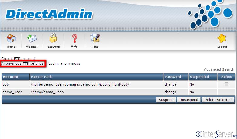 FTP Management in DirectAdmin