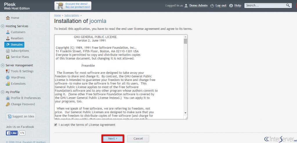 Install Joomla from Plesk