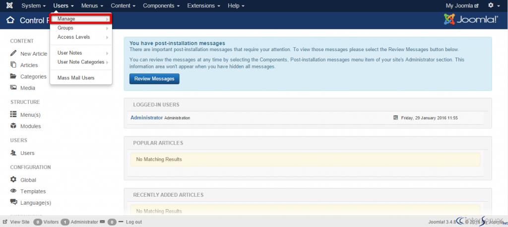 Disable User Registration in Joomla