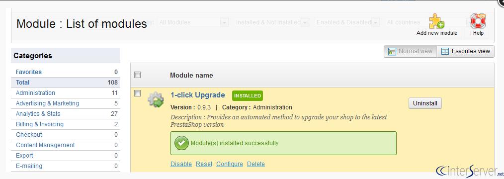 Install 1-click upgrade module in PrestaShop