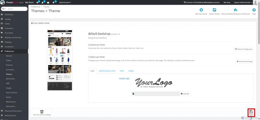 Install new theme in PrestaShop