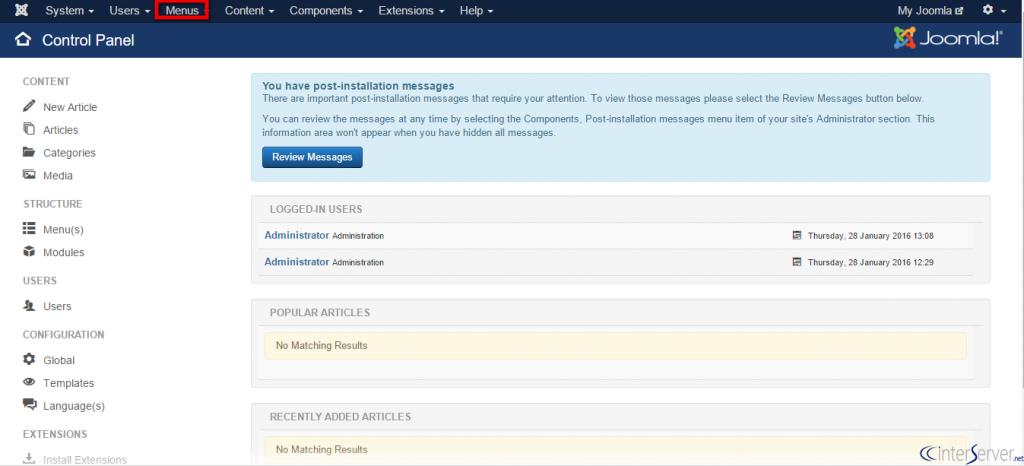 Manage menus in Joomla