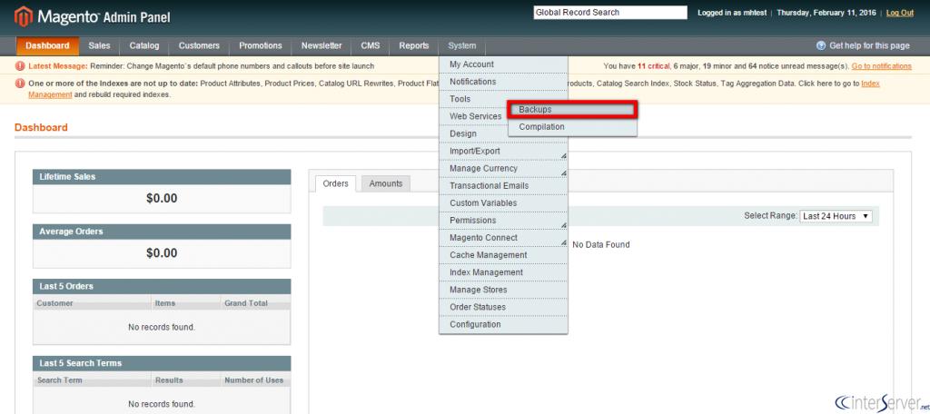 Backup Database in Magento