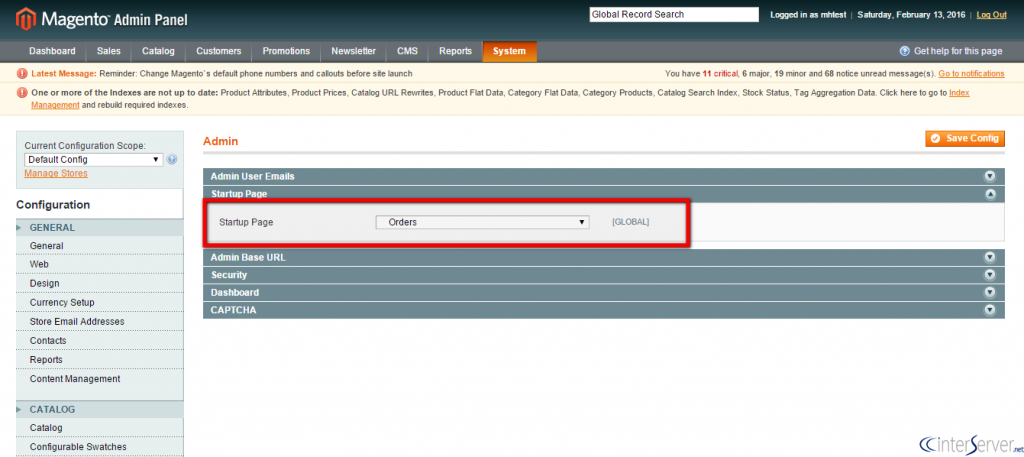 Change admin startup page in Magento