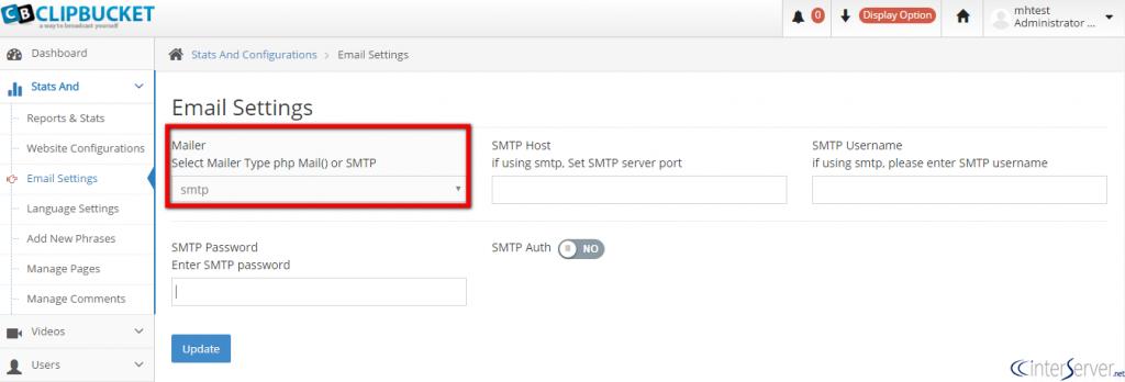 Configure SMTP