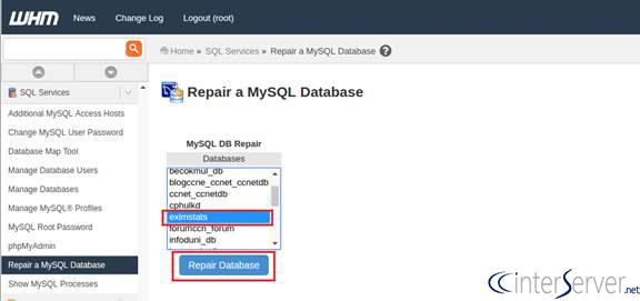 corrupted database