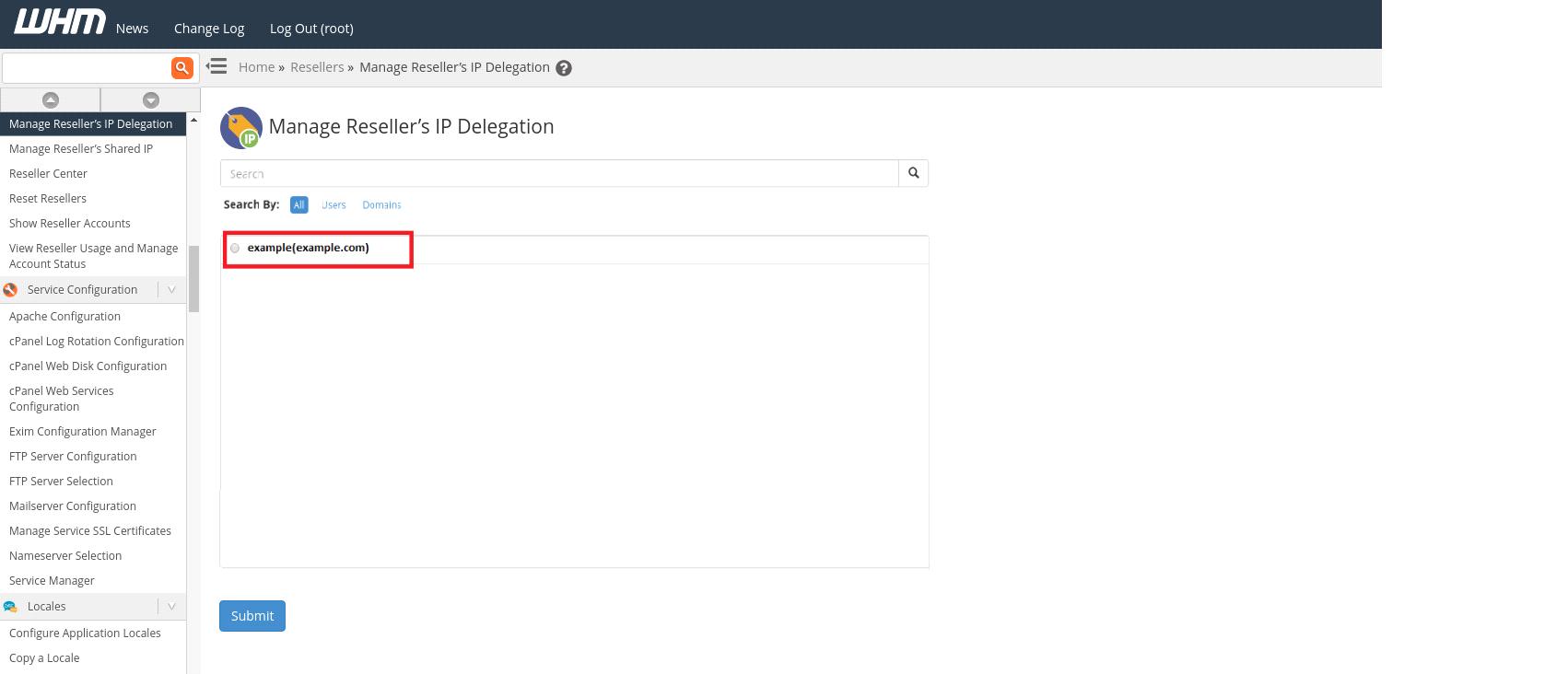 Manage Reseller's IP Delegation in cPanel - Interserver Tips