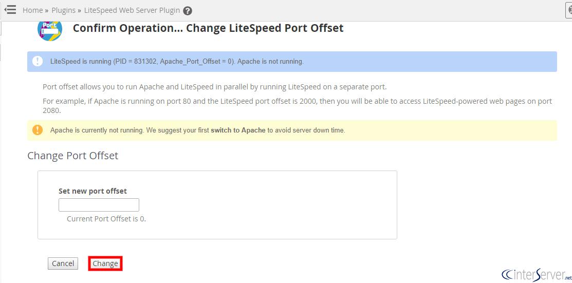 change port in litespeed