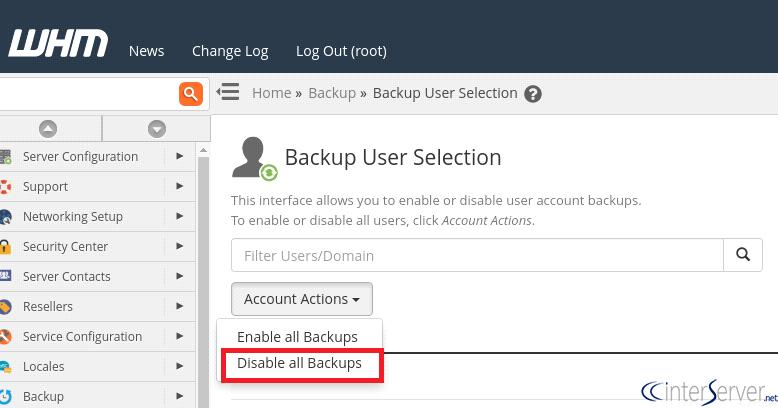 Backup user selection