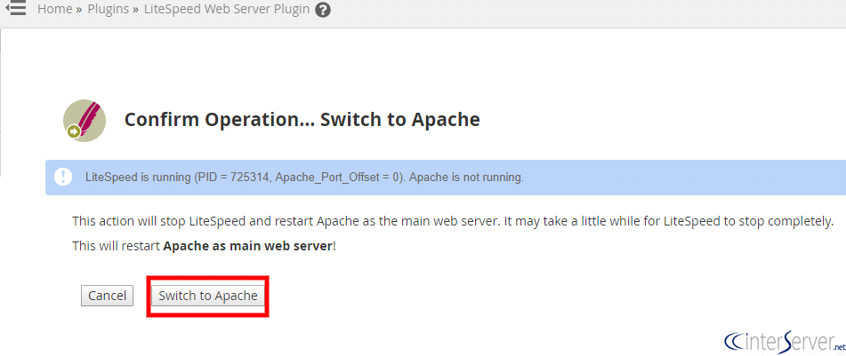 switch to apache