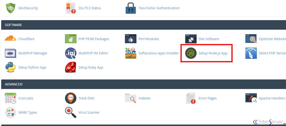 Manage NodeJS Through cPanel - Interserver Tips