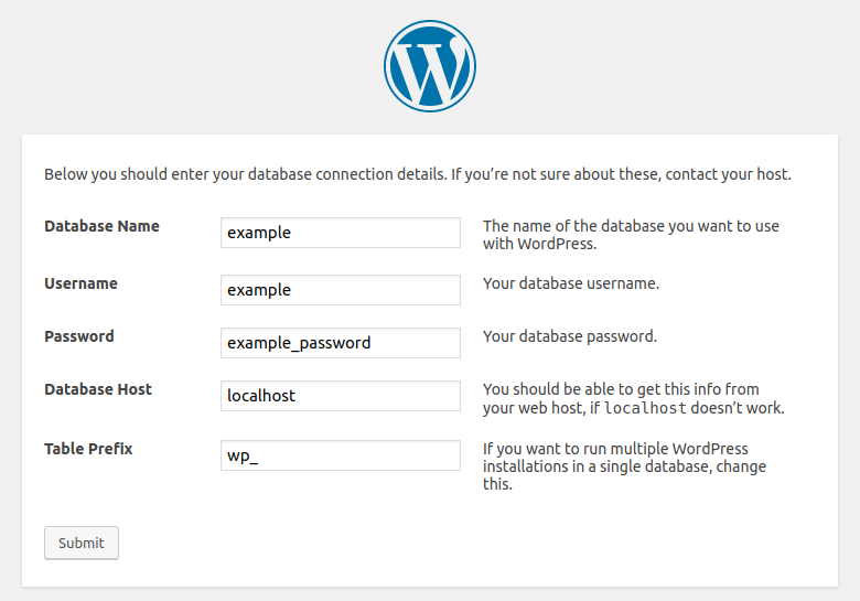 WordPress installation - Step 2